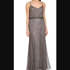 Adriana Papell art deco blouson beaded gown - 4